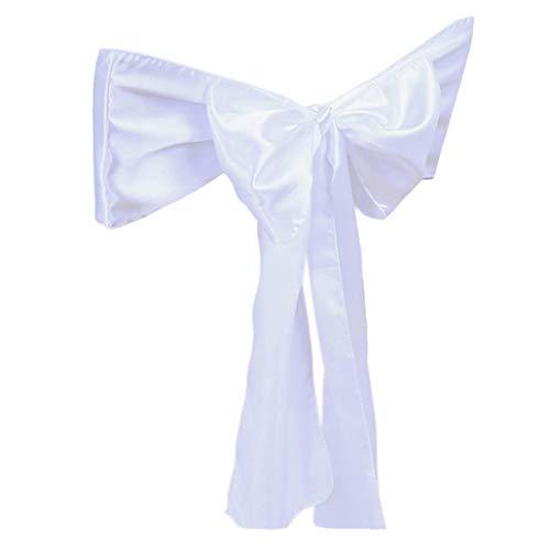 Coprisedia con fiocco, ideale per matrimoni, hotel, feste, banchetti, decorazione da collezione taglia unica bianco