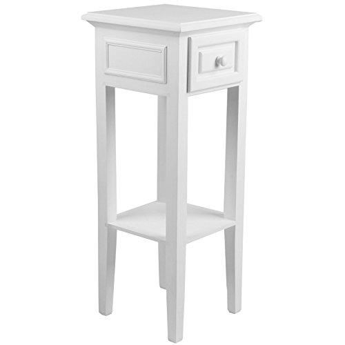 Telefontisch in Weiß | 65 x 25 x 25 cm | Kleiner Beistelltisch Flur Tischchen Landhausstil Shabby...