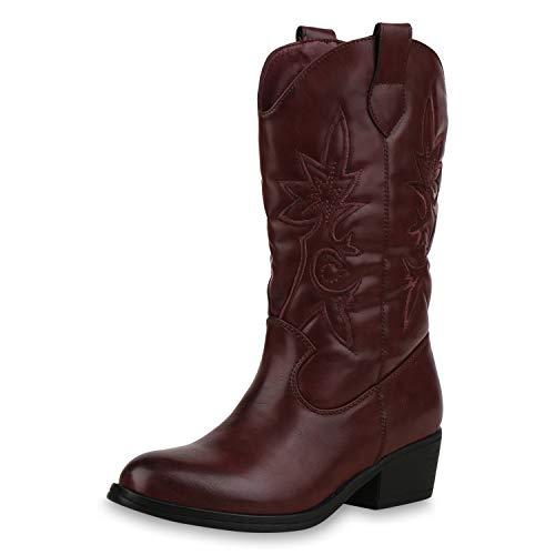 SCARPE VITA Damen Cowboystiefel Gefütterte Western Stiefel Cowboy Boots 173460 Dunkelrot 37