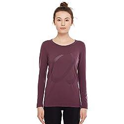 CRZ YOGA Mujer Ropa Deportiva Sports Casuales Camiseta Malla sin Costura Manga Larga Violeta Claro S(40)