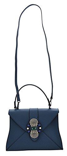 ALINA Borsa a Mano Borsa Spalla Vera Pelle Cuoio Donna Moda Made in Italy Blu