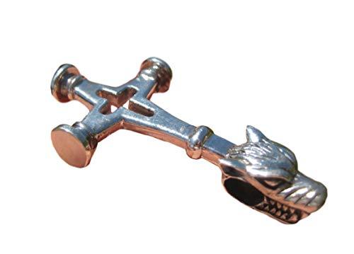 925 Silber Viking Norse Wolf Kreuz Thor Hammer Anhänger Halskette A16 (Norse-anhänger)