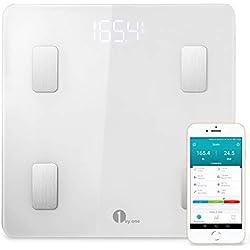 1 BY ONE Wireless Smart Scale, Báscula Corporal Digital inalámbrica con App para Android e IOS, Blanco, 35 x 40 x 5 cm