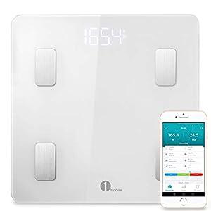 1 BY ONE Körperfettwaage Wireless Körperanalysewaage mit iOS und Android APP, Smart digitale Personenwaage für Körperfett, BMI, Gewicht, Muskelmasse, Körperwasser, Skelettmuskel, Knochengewicht