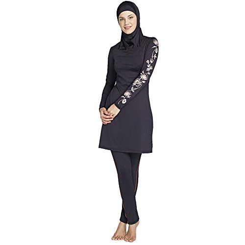 MAGNIVIT Damen Badeanzug mit Hijab Full Cover Muslim Bademode - - X-Large