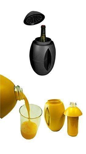 egg-o Weinkühler schwarz + 1 Literflasche zum befüllen von Milch,Säfte und weiteren Getränken immer alles cool am Platz