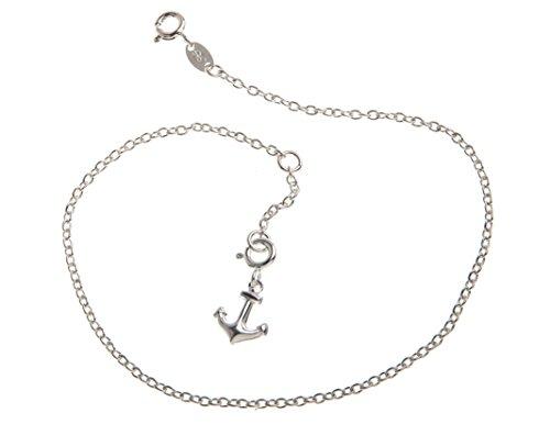 Fußkette - echt 925 Silber - Erbskette mit Anhänger Anker - 2mm Breite, Länge 30,cm