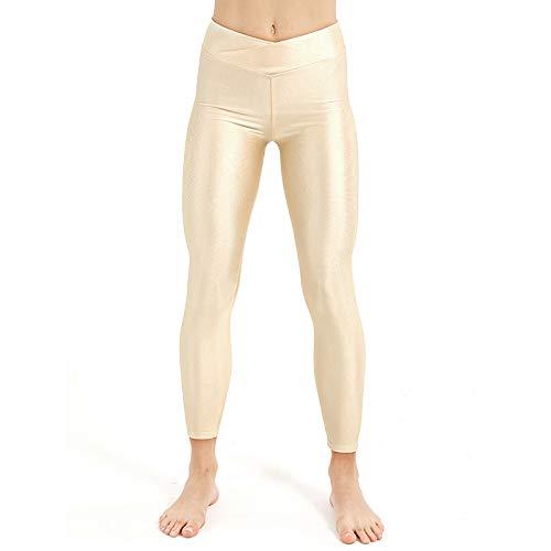 Ayujia Yogahosen Plus Size Frauen Workout Leggings Casual Fluoreszierende Leggings Hohe Elastische Weibliche Glänzende Elastizität Hosen Mädchen Kleidung Leggins Floral Matte Jersey