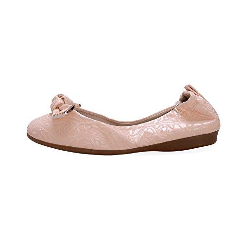 AllhqFashion Femme Couleur Unie Matière Mélangee Non Talon Rond Tire Chaussures à Plat Rose
