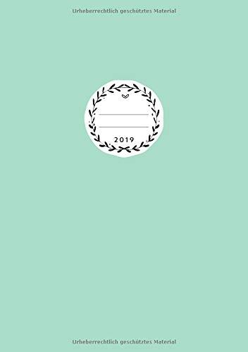 2019: Jan - Dez Wochenplaner | Größe A5 | 1 Woche auf 2 Seiten | 52 Wochen Buchkalender | Aquamarin (Aquamarin Papier)