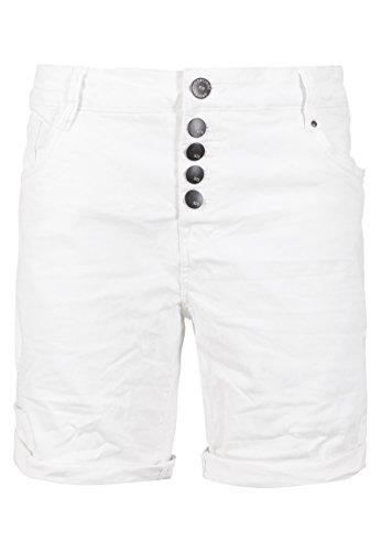 Eight2Nine Damen Stretch-Twill Bermuda Shorts   Kurze Hose mit Aufschlag in Schwarz, Weiß & Rosa White S