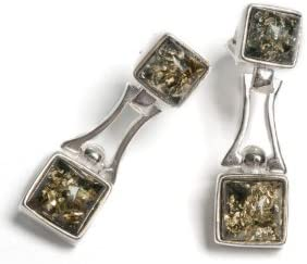 Ámbar báltico clásico, pendientes de plata y ámbar verde cuadrado
