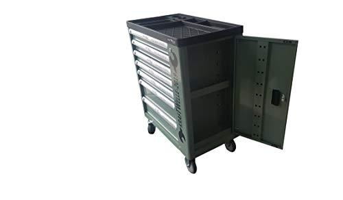 Werkzeugwagen Werkstattwagen von KRAFTWELLE 7 Schubladen 6 komplett gefüllt mit Werkzeuge - Werkzeugkiste fahrbar mit abschließbarem Seitenfach (grün)