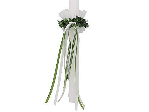 Set: Tropfschutz und Kerzenring Grün Weiß Kommunion Taufe Kerzenrock Kerzenkleid