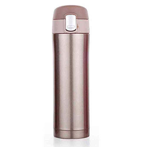 Stainless Steel Travel Coffee Mug, Vacuum Insulated Cup Drink Flask Compact Leak Proof Mug Bottle Cup One Hand Open 500 ml Keep Hours Warm/Cold by Hibbent (Gold) - Leak-proof Insulated Travel Mug