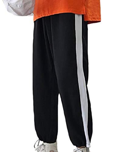 dahuo Herren Haremshose, elastischer Taillenbund, breite Beine, seitliche Streifen Gr. 27-32, Schwarz -