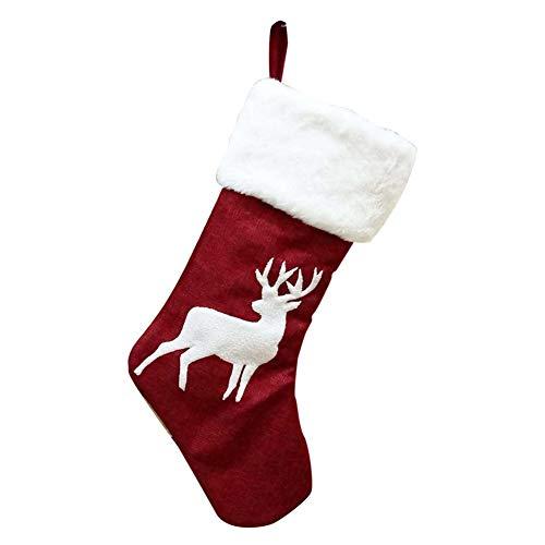 Balai calza natalizia da 18 pollici, supporto regalo classico rosso/bianco per calze di natale, ornamento decorativo per appendere le feste di natale