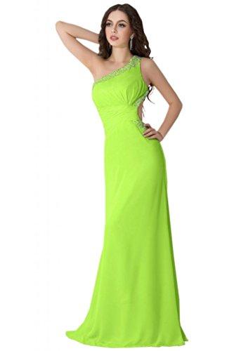Sunvary uno Chiffon spalla con parte posteriore aperta Sexy vestiti da sera sera Pageant Gowns Verde lime