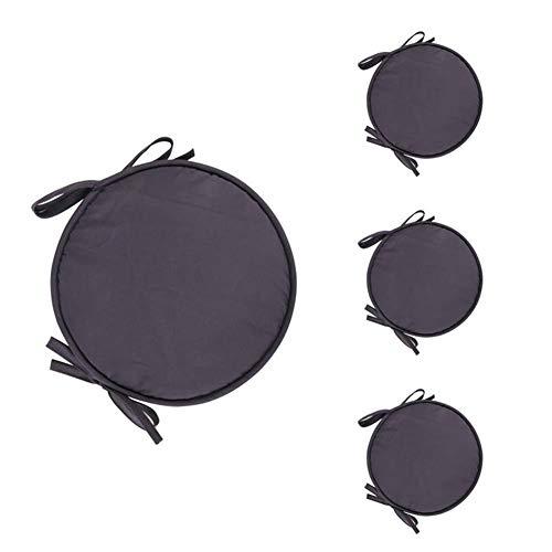 Bledyi, confezione da 4 cuscini rotondi per sedia, con lacci, per casa, auto, ufficio (nero), 38cm, nero
