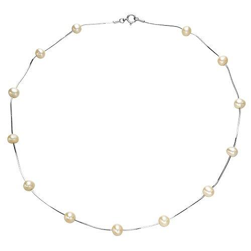 EVER FAITH 925 Sterling Silber 6MM suesswasser Zuchtperle Tin Cup Halskette/Armband Armkette 2 in 1 - Tin Cup-halskette