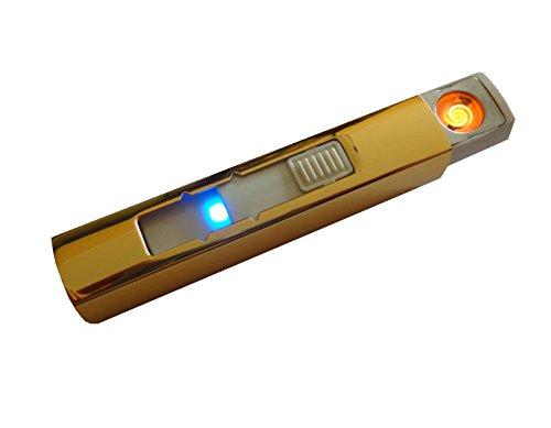 Qprods - Windgesch&uumltzt, &oumlkologische Wolfram elektrische USB Feuerzeug. Ohne Flamme, Gas oder Fl&uumlssigkeiten. USB aufgeladen. Lichter Tausende von Zigaretten. 1 Jahr Garantie (Gold)