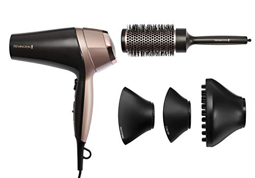 Remington Curl and Straight Confidence Hairdryer, Lightweight Ionic Hair Dryer with Diffuser, Curling Nozzle, Smoothing Nozzle and Hair Brush, D5706 Best Price and Cheapest