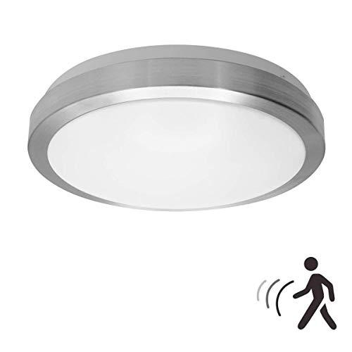 18W PIR LED Luz techo, noche de lámpara de pared con sensor de movimiento por radar LED, 1600LM, IP44, 5000K blanco natural, luz para el pozo de la escalera del garaje del sótano del pasillo