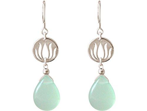 Gemshine - donna - oreccini - argento 925 - fiore di loto - calcedonio - lacrima - goccia - verde acqua - yoga - 3,5 cm