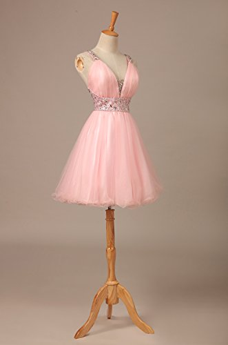 Bridal_Mall Damen Rueckenfrei mit V-Ausschnitt Cocktailkleid Kurz mit Traeger Strasssteinen Abendkleider Rosa