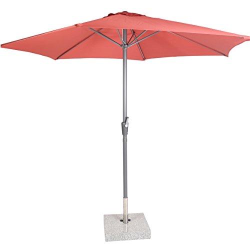 greemotion Sonnenschirm 120278, roter Solarschirm, Sommerschirm mit Kurbel zum Aufspannen, der Strandschirm hat eine Auto-Knickfunktion, der Balkonschirm ist höhenverstellbar und besteht aus Stahl und Polyester, die Maße des Marktschirms betragen ca. Durchmesser 300 x H 250 cm