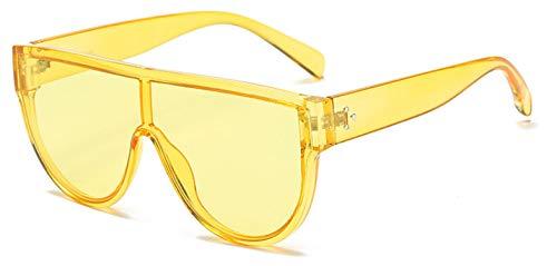 Fashion Flat Top Damen Sonnenbrille, Nageldekoration, Retro-Look, mit integrierten Gläsern, UV400 Gr. Einheitsgröße, Hellgelb