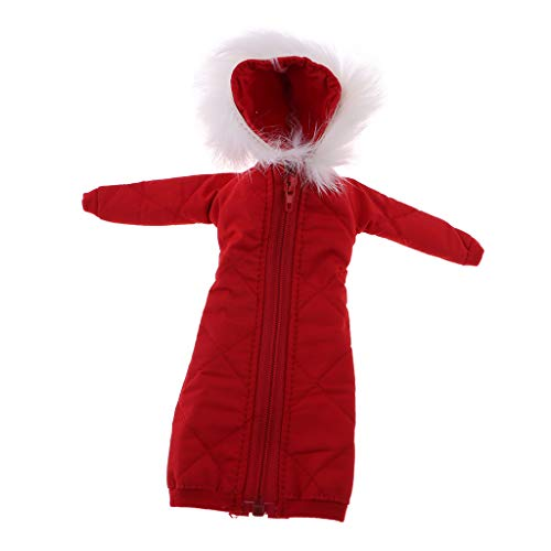 Baumwolle Gepolstert Kleidung (CUTICATE 12 Zoll Komfortable Lange Baumwolle Gepolsterte Mantel Kleidung Für BJD Girl Doll Kits - Rot)