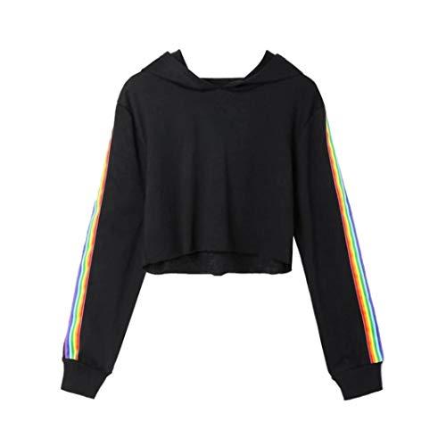Damen-2018Clearance. Fashion Hoodie Sweatshirt Crop Top Mingfa Casual Rainbow Striped Long Sleeve Pullover Bluse, Damen, Schwarz, Large