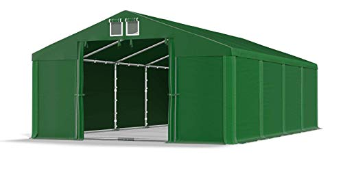 Das Company Lagerzelt 5x8m wasserdicht mit Bodenrahmen dunkelgrün Zelt 560g/m² PVC Plane hochwertig Garagenzelt Summer Floor SD
