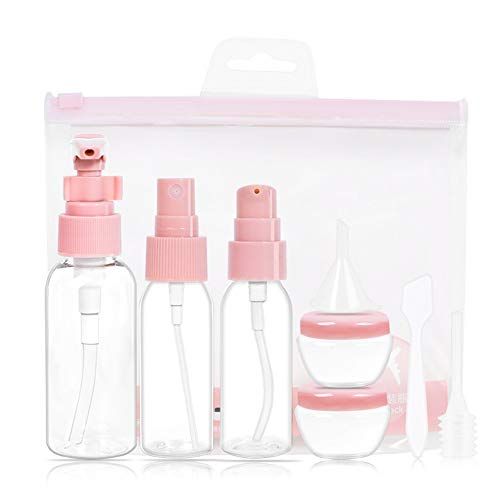 Dispensador de jabón espumoso transparente para viajes, vacío, dispensador de jabón líquido, botella para dispensador de jabón rellenable, 1 juego (rosa)