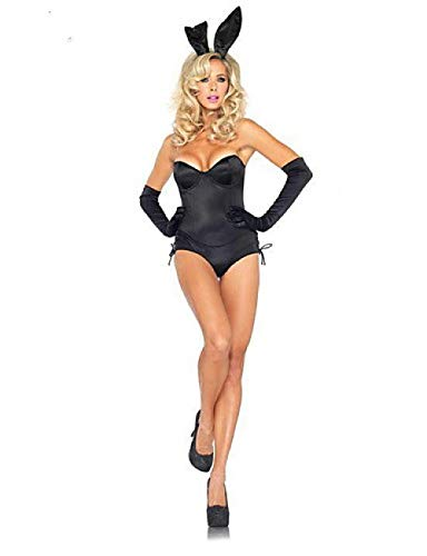 Super Bunny Kostüm - SINYUEE Playboy Bunny Kostüm Women's Super Sexy Teddy Nightwear Solid Colored Blue Black One Size Straples, Schwarz,One -Size