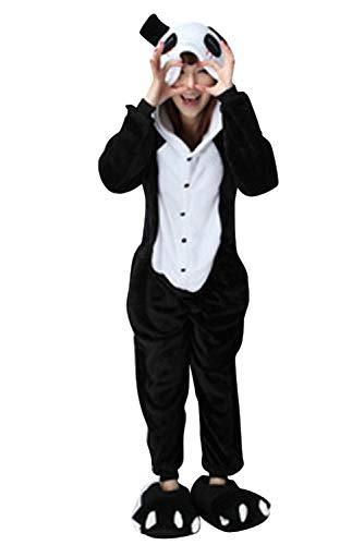 Canberries Damen Herren Jumpsuit Tier Onesie Einhorn Panda Pinguin Giraffe Pyjamas Jumpsuit Anime Cosplay Karneval Kostüm Schlafanzug Erwachsene (M, Panda)