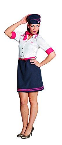 Kostüm Flugbegleiterin Paula Größe Kleid mit Hut Stewardess Fasching Karneval (38) (Stewardess Hut Weiß)