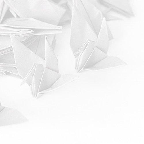 HANGNUO 50 Stück Papier Cranes Origami Kraniche DIY Girlande mit Unsichtbar Silk Gewinde für Hochzeit Geburtstag Party Dekoration, Weiß