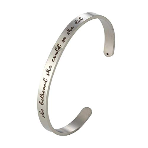en Armband, Edelstahl Armbänder DIY Brief Armband She Believed she Could so she did, Charme Schmuck (Silber) ()