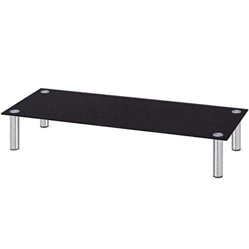 vidaXL Monitoraufsatz/TV-Tisch 100x35x17 cm Glas Schwarz