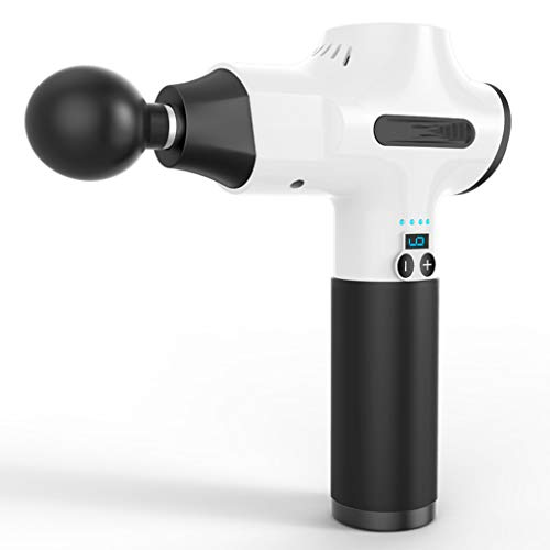Junphsion Tragbares Massagegerät mit 5 Massageköpfen, Quiet Glide-Technologie und persönlicher Handmuskelmassagepistole,Weiß