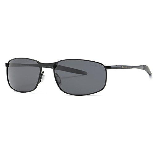 kimorn Polarisierte Sonnenbrille Herren Retro Rechteckig Rahmen Klassisch Unisex Gläser K0535 (Schwarz)