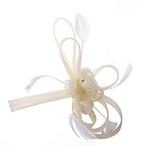 Fascinator elegant mit Federn Haarschmuck hut vintage modisch für Weihnachten Halloween Braut Tea Party Kostüm Karneval Fasching Royal Ascot Schleier Mädchen Frauen Damen Headwear Mini aus Mesh Beige