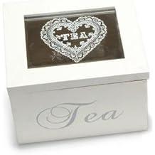 Scatola del té / spezie in legno bianco con coperchio in vetro. SCATOLE BOMBONIERA - Bustine Di Tè Nozze