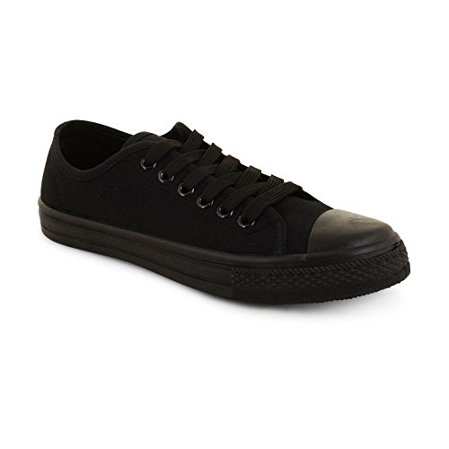 New Ladies Flat Casual Lace Up Canvas Trainers Plimsolls Pumps Shoes UK Sizes 3-8, Baltimore Womens Black Black UK 7