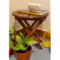 Care 4U ® Beautiful Wooden Antique Folding Side Table (Brown)