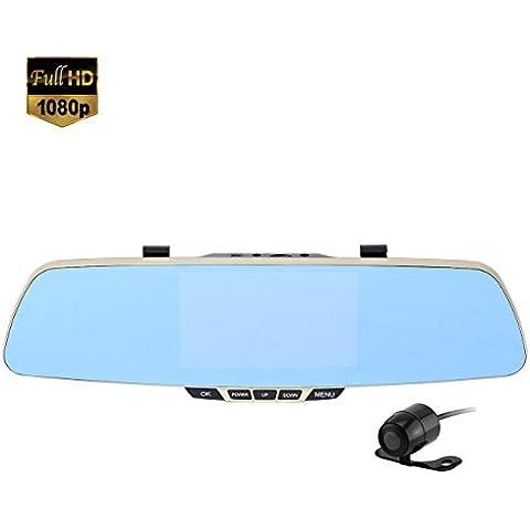 I3C Espejo retrovisor con cámara de la rociada Cam HD 1080P del coche de doble lente de la cámara de doble lente del coche con 5-pulgadas de pantalla de visualización