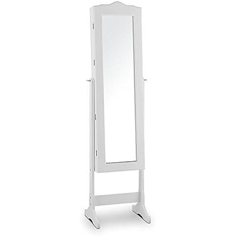 oneConcept Gracia mueble joyero (163 cm de altura total, iluminación LED, espejo suelo giratorio de 107 cm, más de 100 compartimentos, llave para cierre seguridad) - blanco