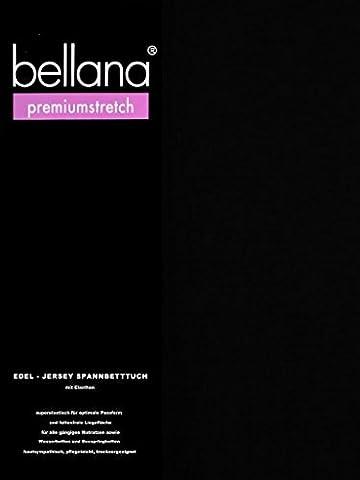 bellana® premiumstretch Edel-Elastic-Jersey Spannbetttuch für Wasserbetten und Boxspringbetten, 180-200 x 200-220 cm, schwarz